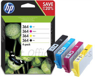 HP 364 Original Black & Tri-Colour 4 Pack Ink Cartridges Multipack - Black / Cyan / Magenta / Yellow (N9J73AE, 364, J3M82AE)