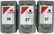 Canon PG-37 / CL-38 Remanufactured Ink Cartridges 3-Pack- High Capacity Black & Tri-Colour 3-Pack Ink Cartridges - Compatible For(PG-37, PG37, 2145B009, 2145B001, CL-38, CL38, 2146B0011)
