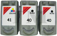 Canon PG-40 / CL-41 Remanufactured Ink Cartridges 3-Pack- High Capacity Black & Tri-Colour 3-Pack Ink Cartridges - Compatible For (0615B036AA, 0615B036, PG-40, CL-41, 0615B043)
