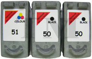 Canon PG-50 / CL-51 Remanufactured Ink Cartridges 3-Pack- High Capacity Black & Tri-Colour 3-Pack Ink Cartridges - Compatible For (PG-50, PG50, 0616B001, CL-51, CL51, 0618B0011)