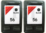 HP 56 Remanufactured Ink Cartridges Twin Pack - High Capacity Black Twin Pack Ink Cartridges - Compatible For  (HP 56, HP56, C6656AE, C6656AN, C6656A)