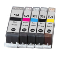 Canon PGI-520 / CLI-521 Compatible Ink Cartridges Multipack - High Capacity 5 Colour - Black / Black / Cyan / Magenta / Yellow