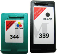 HP 339 & HP 344 Remanufactured Ink Cartridges Multipack- High Capacity Black & Tri-Colour Ink Cartridges - Compatible For  (C8767EE, HP 339, HP339,C9363EE, HP344, HP 344, C9363AN, C9363E)