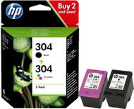 HP 304 Original Black & Tri-Colour 2 Pack Ink Cartridges Multipack