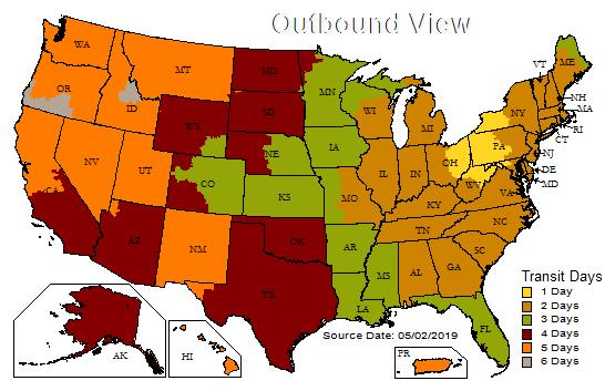 US Time in Transit Map