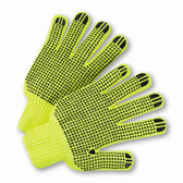 Hi-Vis Reverse PVC Palm Dot String Knit Gloves  ## RD300 ##