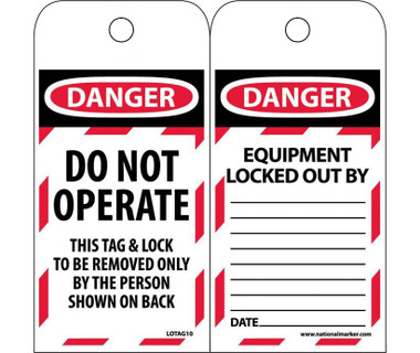 Lockout / Tagout Vinyl Tags - Pack of 25  ##LOTAG10-25 ##