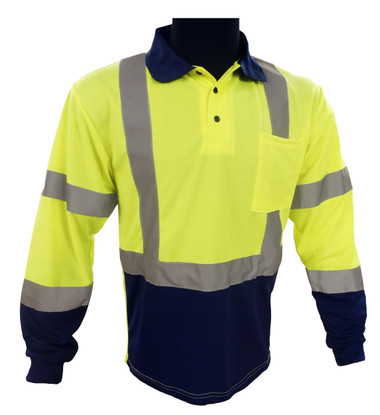 Navy / Lime Long Sleeve Polo ##G895 ##