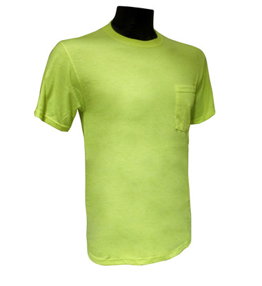Jerzees® Safety Green Cotton / Poly T-Shirts with Pocket  ## G830 ##