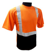 Hi-Vis Class 2 Reflective Safety Shirt - Safety Lime Orange / Black Bottom ##BBO820 ##