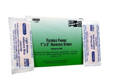 "1"" x 3"" Light Woven Adhesive Bandage Strips - Box of 100  ## 1-400 ##"