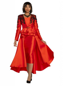 Donna Vinci Red / Black 2 Pc. Jacket & Skirt Set 11738
