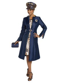 Donna Vinci Navy / Gold 2 Pc. Dress & Jacket Set 11799