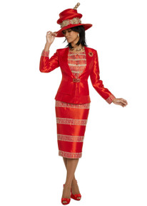 Donna Vinci Red / Gold 2 Pc. Jacket & Skirt Set 11811