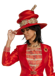 Donna Vinci Red / Gold Hat 11811