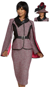 Donna Vinci Couture Fushia / Black 2 Pc. Jacket & Skirt Set 5654