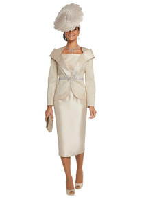 Donna Vinci Couture Champagne 2 Pc. Jacket & Skirt Set 5639
