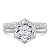 Ethical Engagement Ring Hexagon with Round Ethical Diamond Center Stone