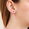 Poppy flower ethical gemstone and gold earrings
