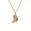 Crescent Moon Diamond Necklace Rose Gold