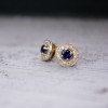 Ethical Diamond and Blue Sapphire Diamond Halo Earrings