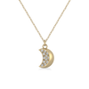 Crescent Moon 14KY and Diamond Necklace
