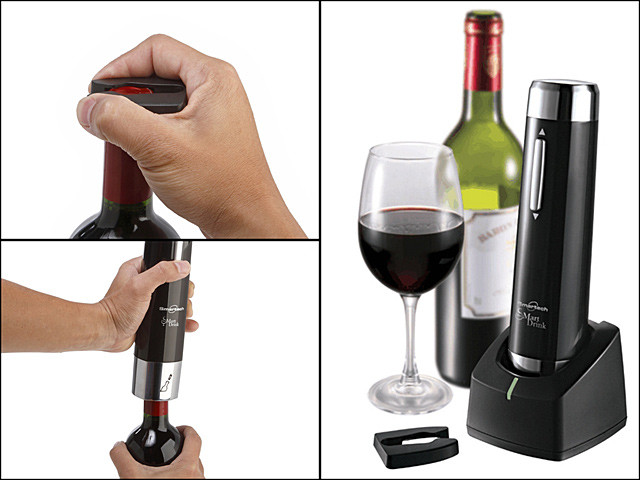 Smartech Electronic Cordless Wine Opener with Foil Cutter (GGBEV001500) by IQCUBES.COM