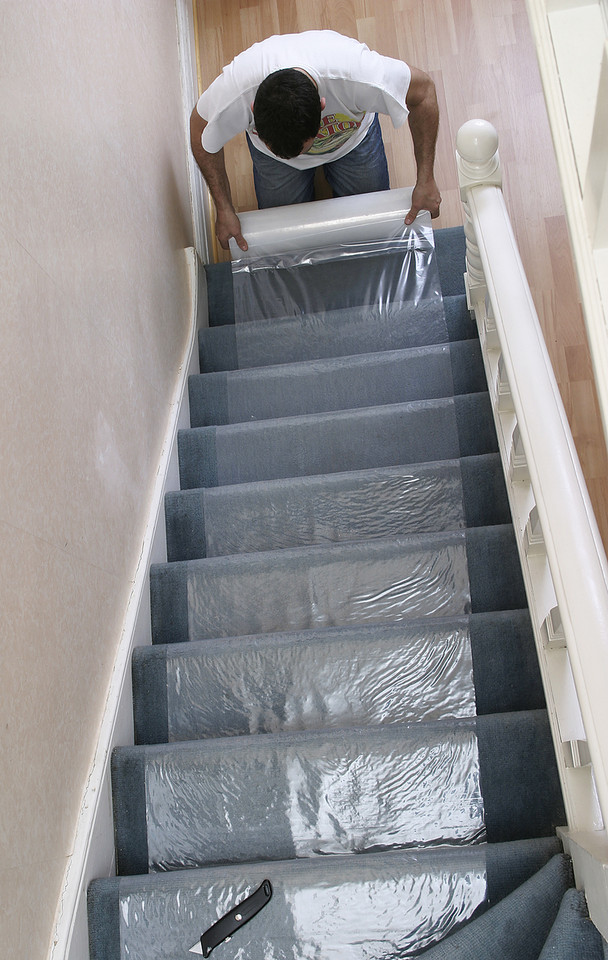 Stair Carpet Protection Self Adhesive Roll Temporary