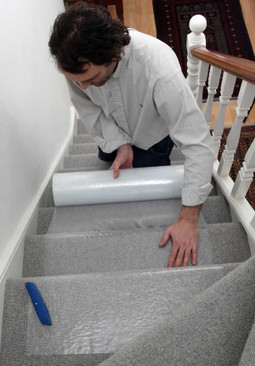 Heavy-Duty Stair Carpet Protection 30cm x 100m, Self-Adhesive Roll Protector