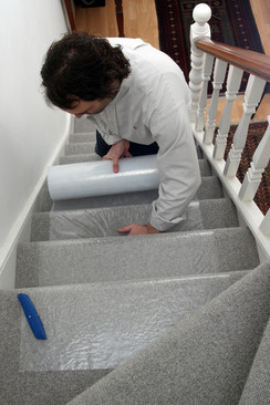 Super heavy duty stair carpet protection