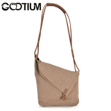 Gootium 21001CF Canvas Genuine Leather Cross Body Messenger Shoulder Bag Coffee