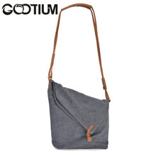 Gootium 21001GRY Canvas Genuine Leather Cross Body Messenger Shoulder Bag Grey