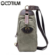 Gootium 21105AMG Men's Canvas Genuine Leather Cross Body Chest Pack (Army Green)