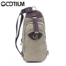 Gootium 21105KA Men's Canvas Genuine Leather Cross Body Chest Pack,Khaki