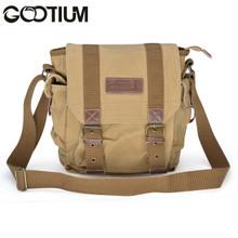 Gootium 21217KA Canvas Genuine Leather Cross Body Messenger Handbag,Khaki