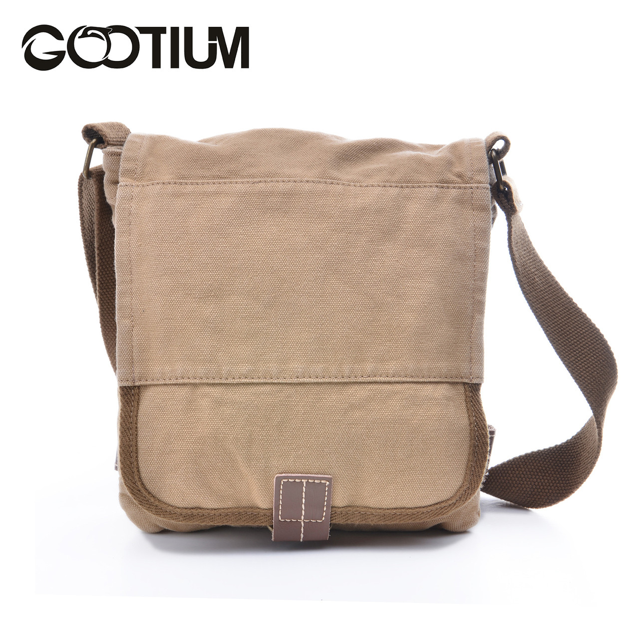 cca81ce7f Gootium 21223KA Cotton Canvas Cross Body Small Messenger Bag Shoulder  Handbag,Khaki