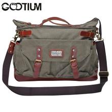 Gootium 30621AMG Canvas Genuine Leather Vintage Top Handle Handbag Cross Body Bag (Army Green)