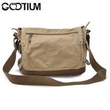 Gootium 30622KA Canvas Genuine Leather Cross Body Messenger Handbag,Khaki
