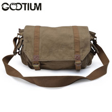 Gootium 30623AMG Canvas Genuine Leather Cross Body Messenger Handbag Shoulder Bag (Army Green)