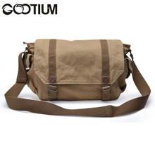 Gootium 30623KA Canvas Genuine Leather Cross Body Messenger Handbag Bag,Khaki