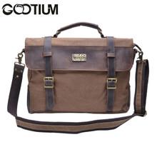 Gootium 30825CF Cotton Canvas Genuine Leather Cross Body Laptop Messenger Business Shoulder Handbag