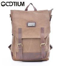 Gootium 40196CF Canvas Genuine Leather BagPack (Coffee)