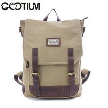 Gootium 40196KA Canvas Genuine Leather BagPack,Khaki