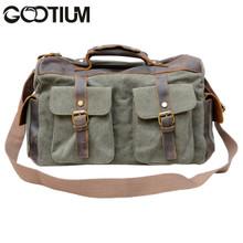Gootium 40591AMG Canvas Genuine Leather Vintage Top Handle Handbag,Army Green