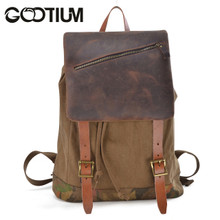 Gootium 41139CF Canvas Genuine Leather Camouflage Decoration Backpack,Coffee
