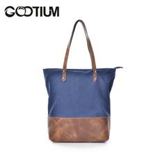 Gootium 41232NV Canvas Genuine Leather Shoulder Handbag,Navy