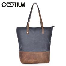 Gootium 41232GRY Canvas Genuine Leather Shoulder Handbag,Grey