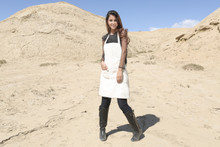 New Woocao Linen Apron Craft Chefs Kitchen Cooking Party with Front Pocket White