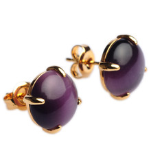 Mnemosyne Voila Purple Gemstone 14k Gold Plated 925 Sterling Silver Cats Eye Stone Anniversary Earrings