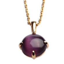 Mnemosyne voila Cats Eye Stone Purple gemstone pendant necklace Gold plated 925 silver pendant Anniversary pendant